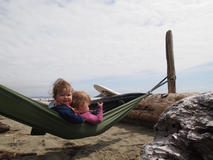 The girls lounging in our lightweight Tiny Big Adventure Hammock