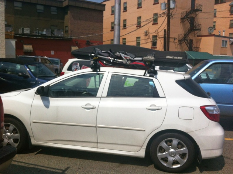 Our Toyota Matrix with our chariot and our Box of gear.