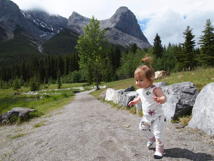 Already trying to run after her sister on the trail.