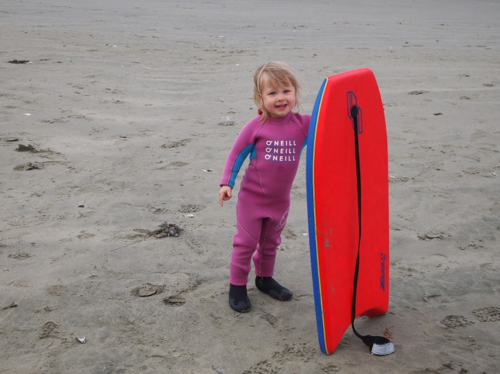 My toddler loving her boogie board.